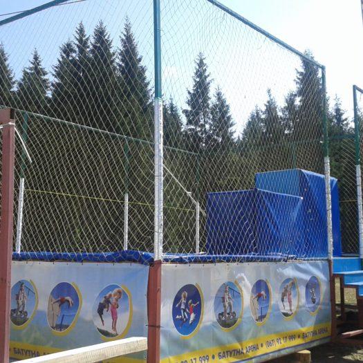 Установка батутной арены на горнолыжном курорте Буковель